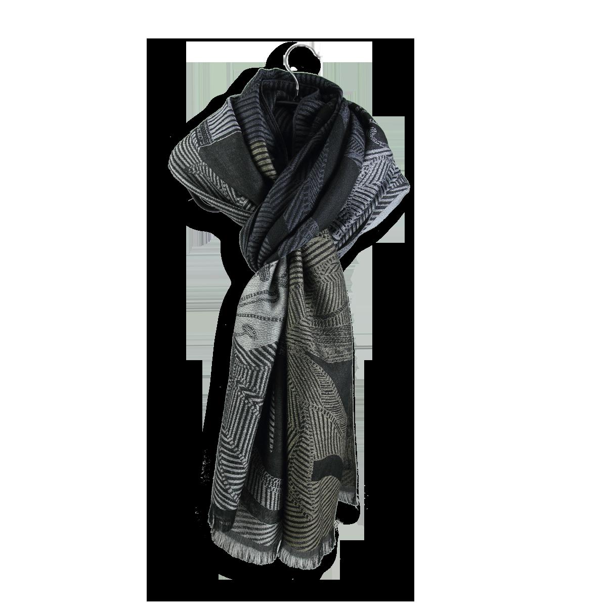 Etole Femme en Laine Coton Soie - Grand foulard Noir Gris 73a45256759