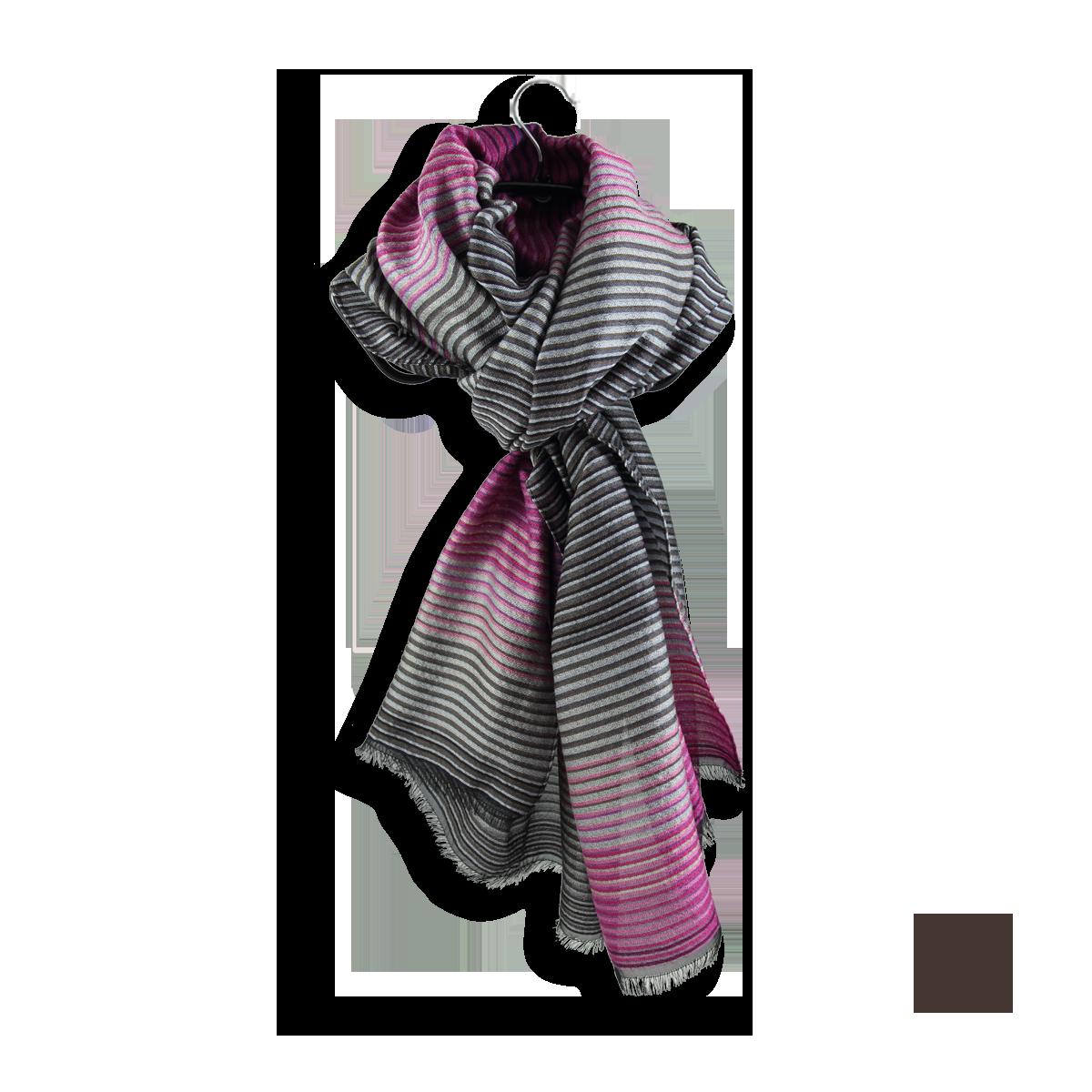 bd4c3b1ce22d Etole Femme à rayures Rose Gris en Laine Coton Soie - Ultra chic