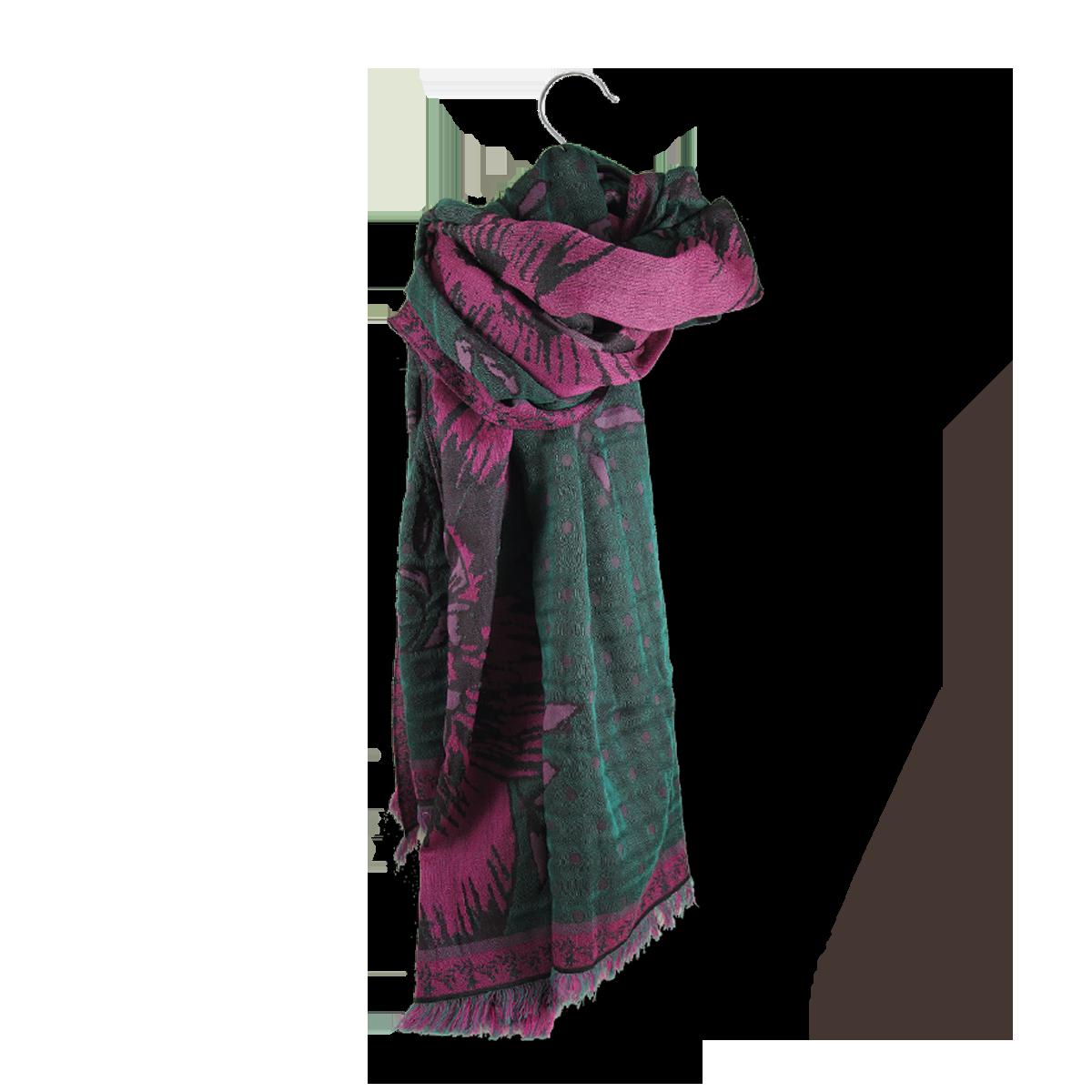 f4c9cbfbcad6 Grande étole Femme Vert en Laine Coton Soie - Etole oversize