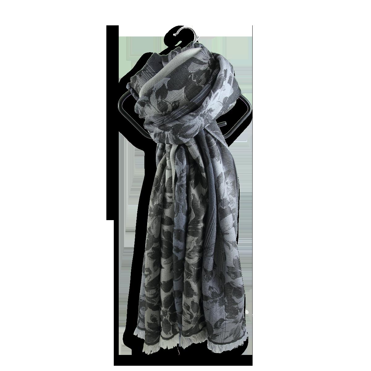 f67f79195fc4 Belle et grande étole laine et soie, gris argent - Très haute qualité