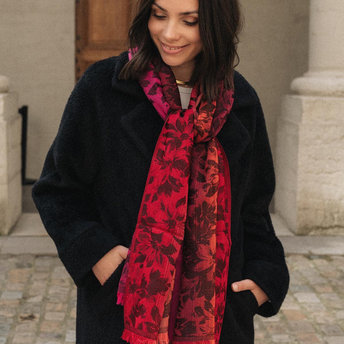 Etole femme en laine et soie rouge fuchsia - Très haute qualité d3ff33813f3