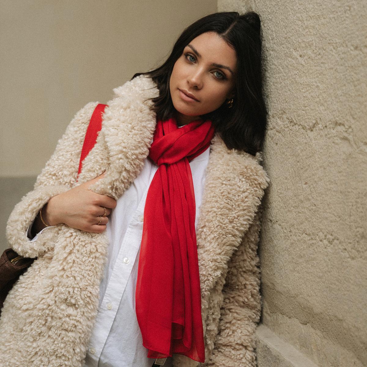 Grande étole de soirée en mousseline Rouge - Jolie étole en soie 162350b7341