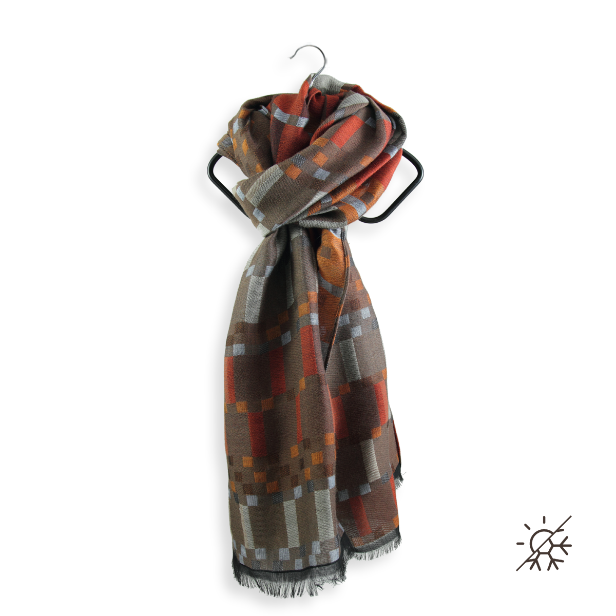 Warm stole brown for men in cotton and modal - ultra resistant. 866f7c5ecda