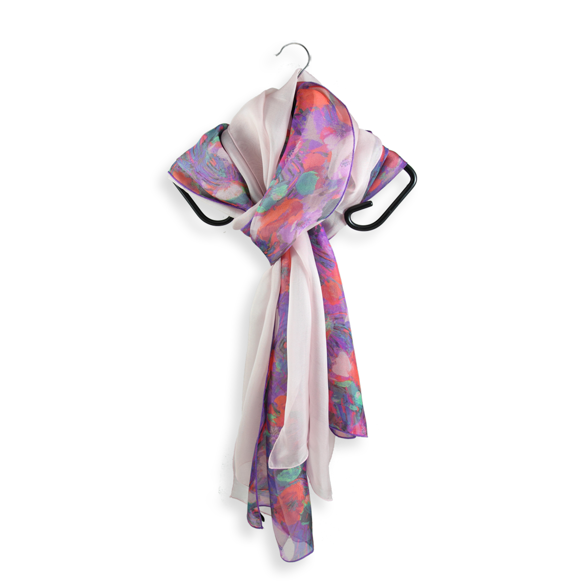 07c6b986e61 Women's scarves in natural silk. red fireworks style print and pink ...